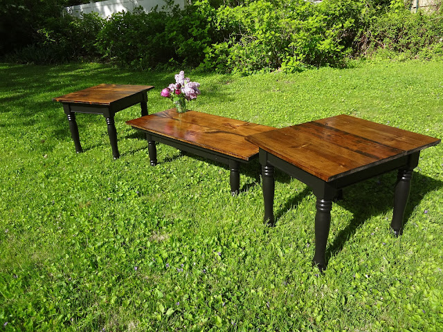 Heir and space a farmhouse style coffee table set for Farmhouse end table set