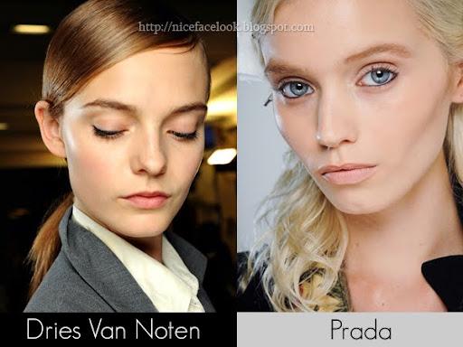 кадифяни тъмнорозови устни грим Dries Van Noten и плътни бледорозови устни грим Prada