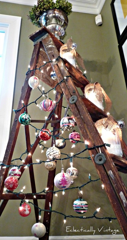 Christmas ladder tree via Eclectically Vintage featured on Funky Junk Interiors
