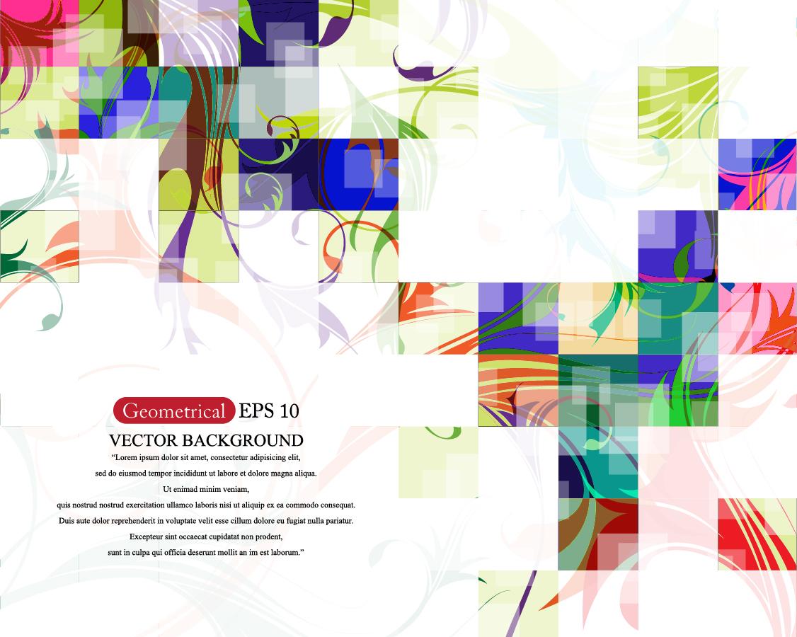 カラフルな正方形パターンの背景 squares patterns colorful abstract background イラスト素材
