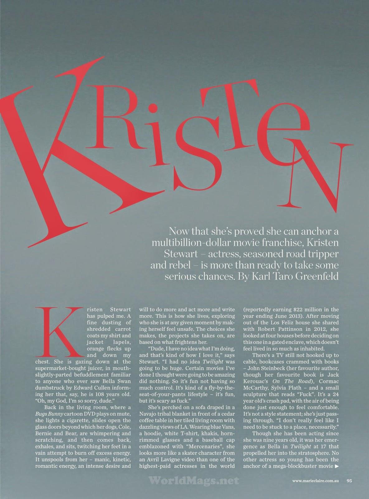 Kristen Stewart For Marie Claire Magazine, Australia, May 2014