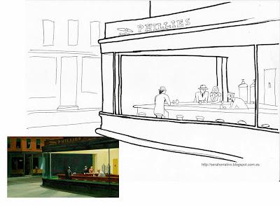dibujo colorear Noctámbulos Hopper