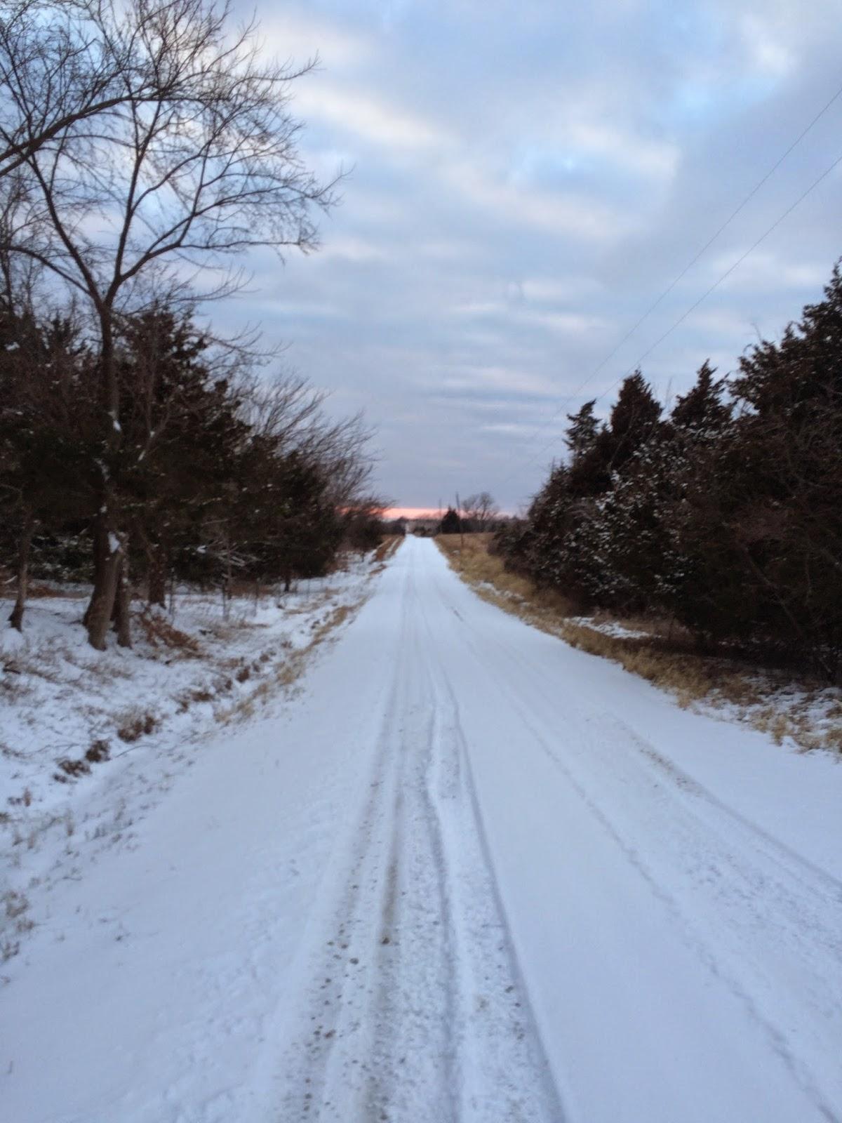 Snowy road in Kansas
