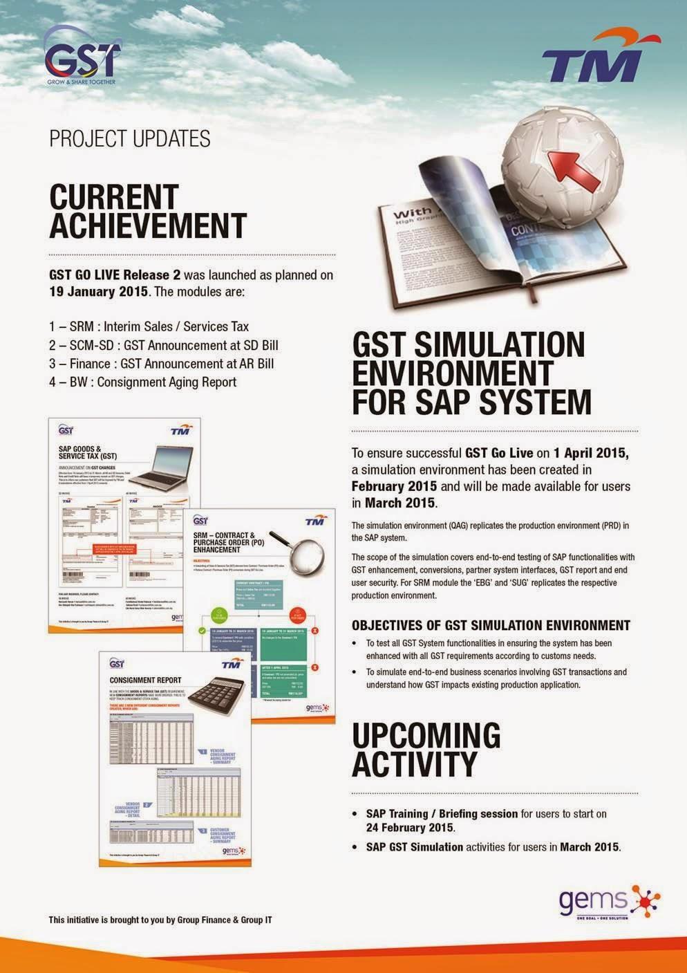 TM's Readiness Program : Project Updates (Current Achievement) GST 2015