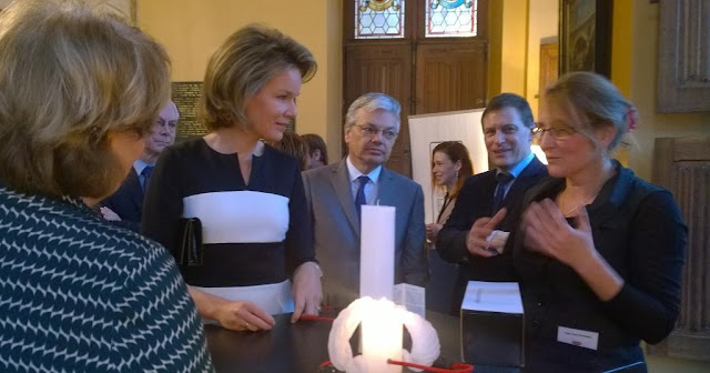 Queen Mathilde of Belgium attends the presentation of the Belgian Beauty Award at the Château Val Duchesse in Auderghem