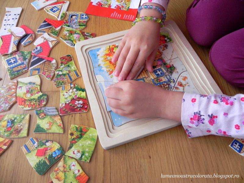 Puzzle din lemn in straturi, marca Goki cu Anotimpurile
