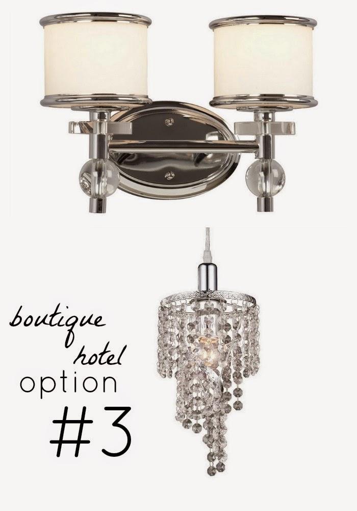 boutique hôtel style bathroom lighting