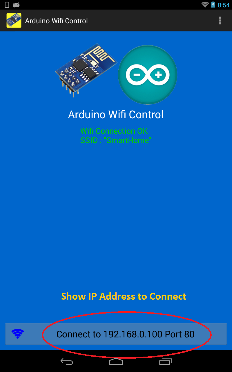 Android arduino control wifi with esp
