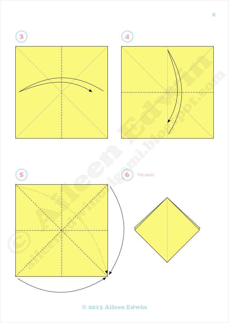 Origami bird base diagrams