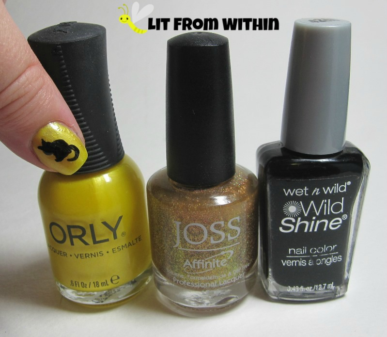 Bottle shot:  Orly Hook Up, Joss Desert Sunset, and Wet 'n Wild Black Creme