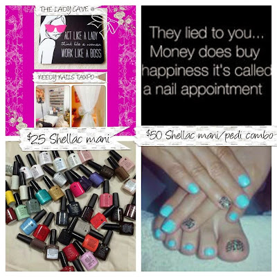 Acrylic extensions + Shellac $50 Manicure/pedicure Shellac combo $50