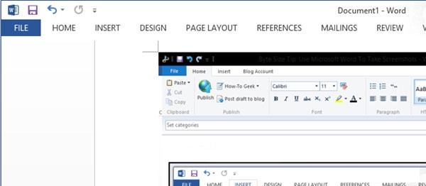 Hướng dẫn sử dụng Screenshot Tool trong Word 2013 2