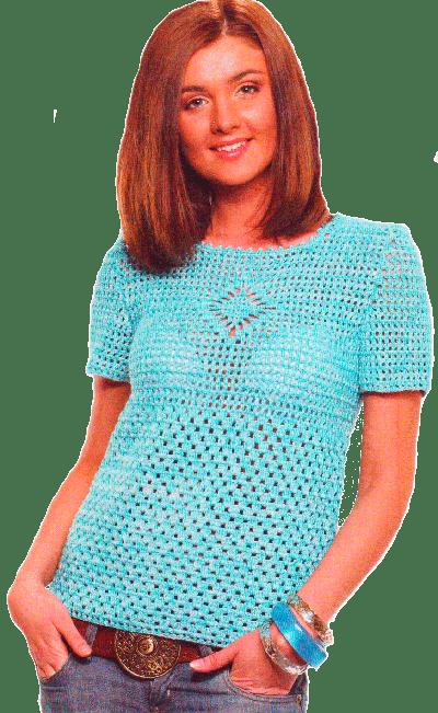 пуловер, выполненный крючком филейной вязкой