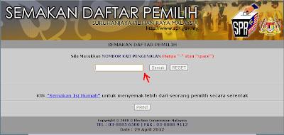 Semakan Daftar Pemilih SPR pilihanraya 2012 Umno BN Pas PKR Dap
