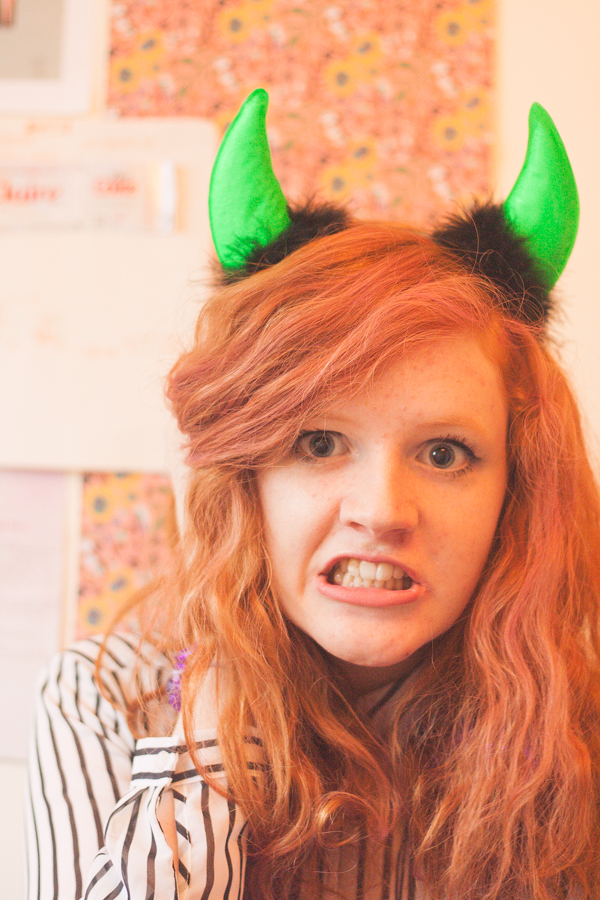 Green devil horns casual Halloween costume