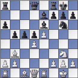 Posición partida de ajedrez Bolbochán-Albareda 1946, posición después de 17.Cg3