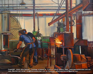 Industrial heritage - Blacksmiths at Eveleigh Railway Workshops  oil painting by artist Jane Bennett