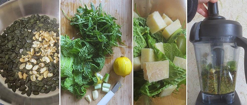 Zubereitung Kürbiskern-Rucola-Pesto