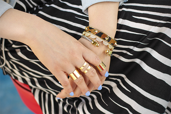 H&M gold cage rings with C.Wonder leopard bangle, Kate Spade gold scallop bangle and JewelMint double jaguar bangle