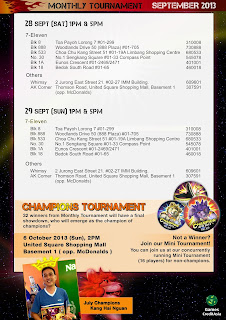 Change of tournament venue on 29 Sep for 7 Eleven at toa payoh center