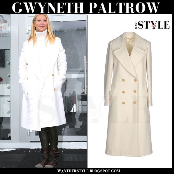 Gwyneth Paltrow in white double breasted coat michael kors what she wore winter style