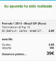Apuestas Deportivas Rosberg Formula 1-GP Brasil Sainz