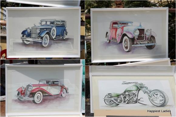 vintage cars oil paintings