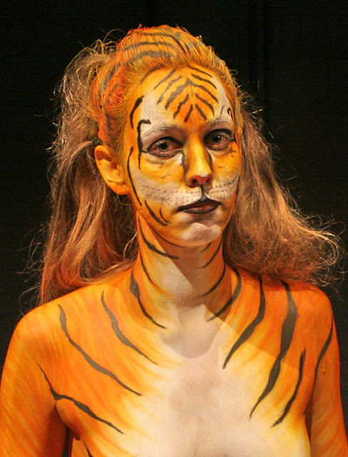 sexy girl body art paint like a tiger's face