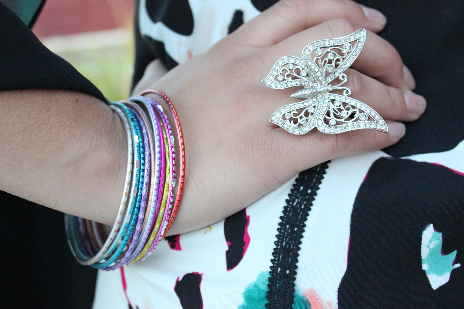 Butterfly Ring and Colorful Bracelets Forever 21