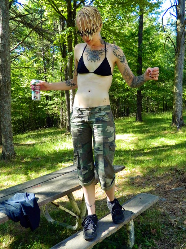black Old Navy bikini and Boa shorts - goth industrial rocker summer style - tattoos inked girls
