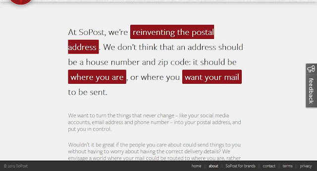 redirect your twitter, facebook into your postal address