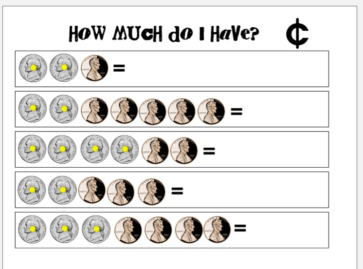 Printables Touch Math Money Worksheets tales from a k 1 classroom touch coins and morning math i started this today with the math1 worksheet they loved it am curious to see how do on math2 tomorrow