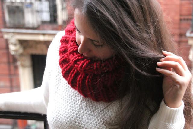 como hacer tejer bufanda circular agujas circulares