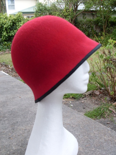 Red wool felt blocked cloche hat