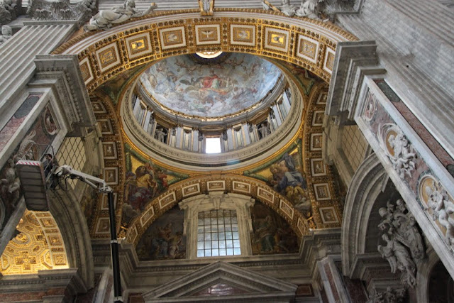 Mosaic decoration of the dome in St Peter's Basilica in Vatican City, Rome, Italy