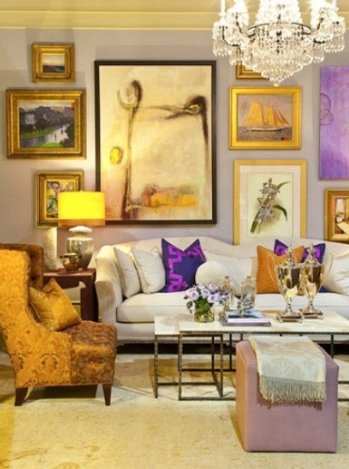 Chinoiserie chic the pretty gallery wall for Lilac living room walls