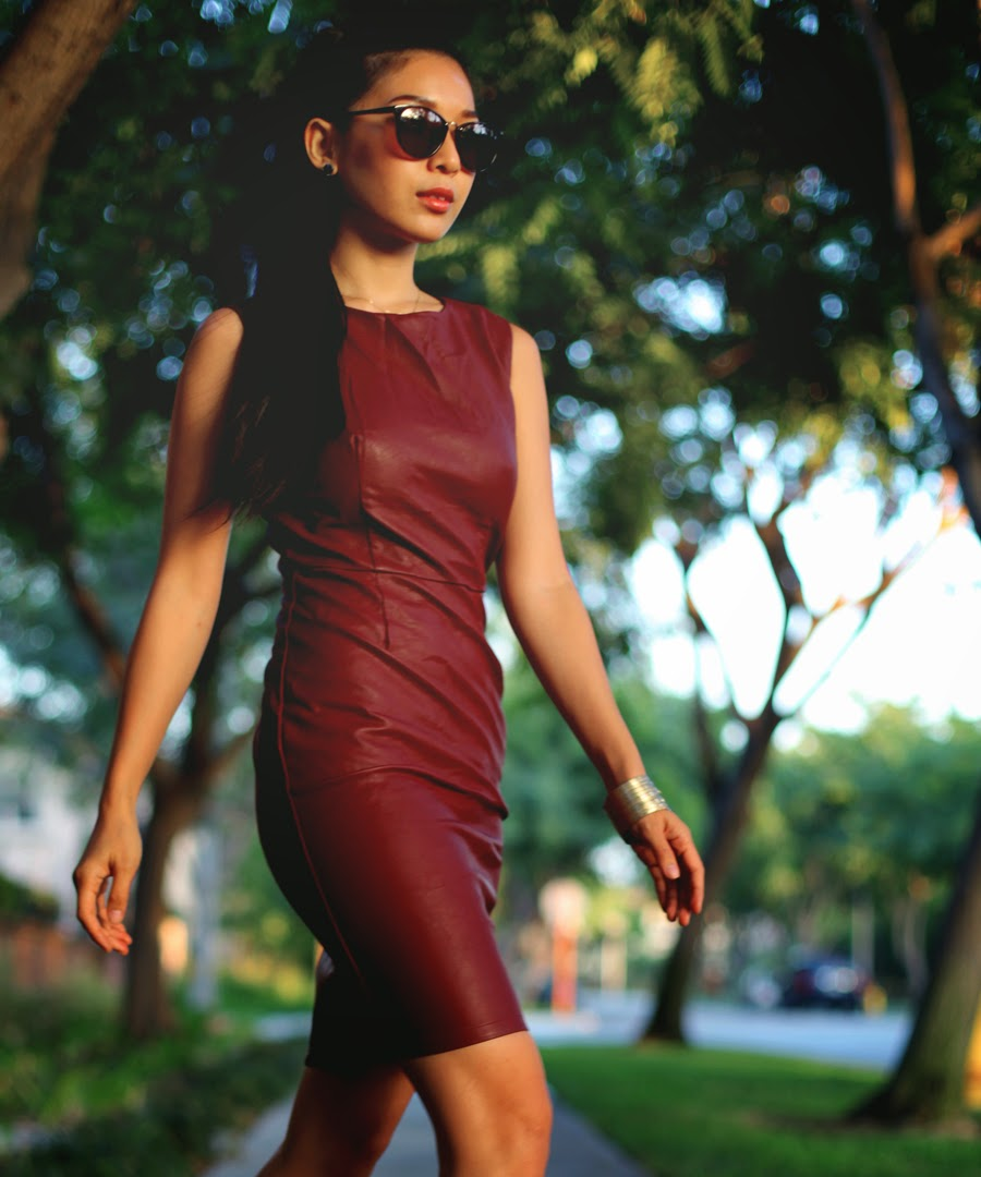 Stephanie Liu wearing LAST NIGHT Celine Dress, Chloe & Isabel cuff, Guise by Benjamin sunglasses, and Aldo x Preen heels.