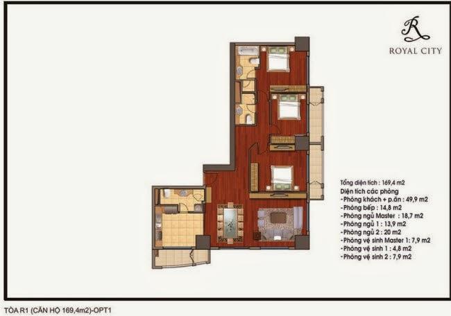 Chi tiết thiết kế căn hộ toà R1 chung cư Royal City diện tích 169.4 m2