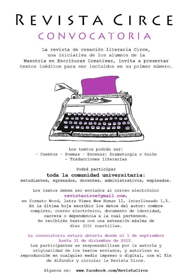 Convocatoria Revista Circe de los estudiantes de la Maestría en Escrituras Creativas de la Universidad Nacional de Colombia