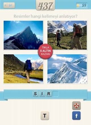 Resimli Kelime Bulmaca Çözümü Dağ ve Dağcı