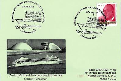 Braemar, crucero, Avilés, matasellos, tarjeta