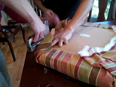 Reupholstering is a two person job!
