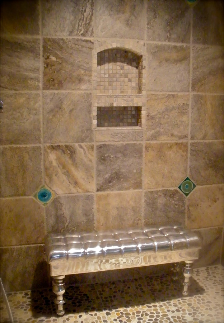 Travertine shower on pinterest photo tiles google and for Travertine accent tile