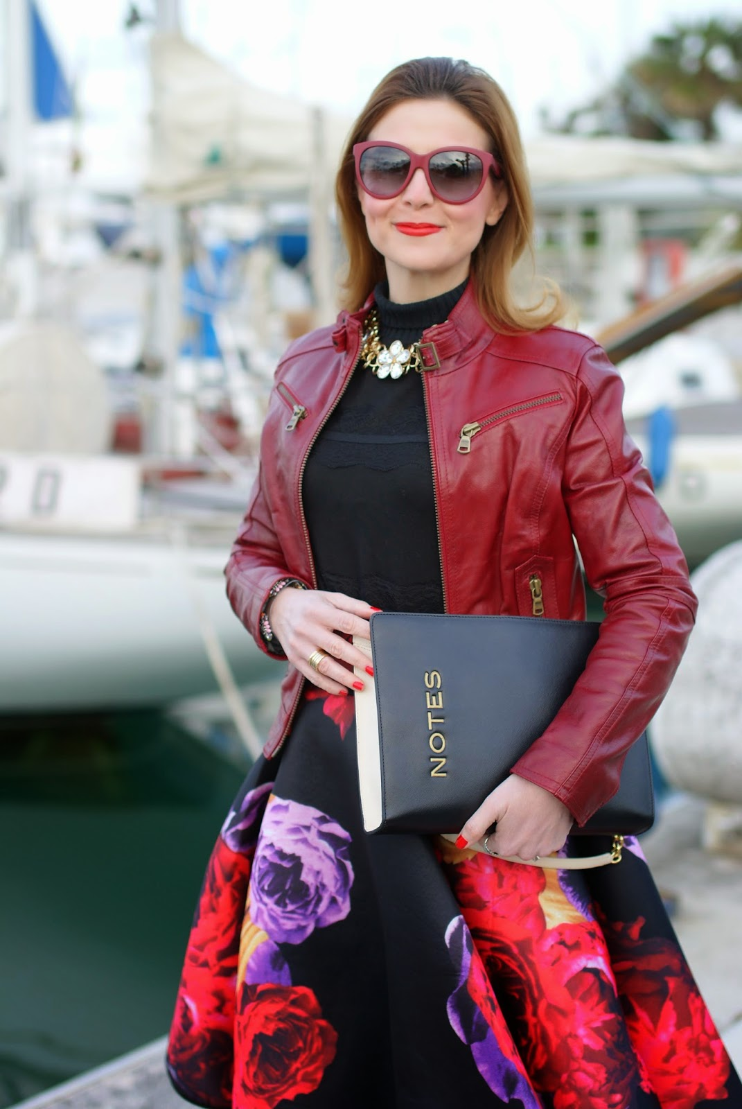 Romwe dark roses skater skirt, Moschino notes bag, Fashion and Cookies, fashion blogger