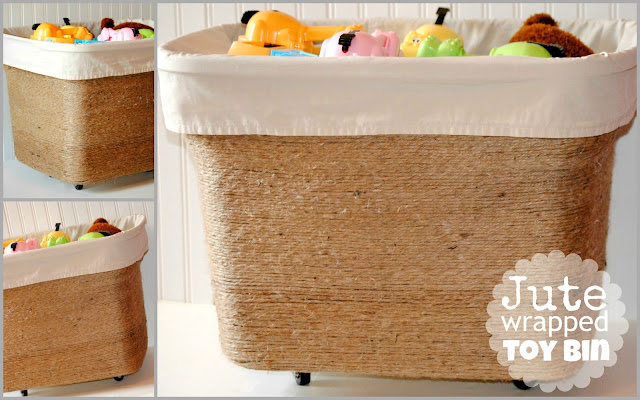Jute Wrapped Toy Bin from Old Tote