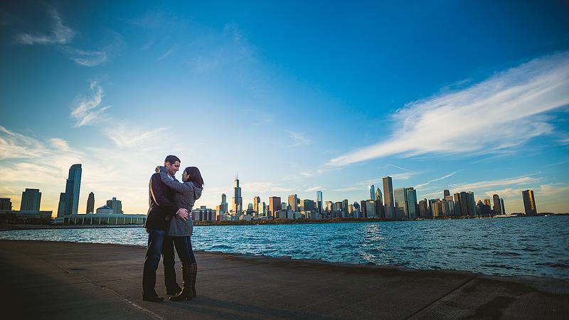 Chicago Adler Skyline Engagement Photo