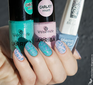 Essence #01 Hola, Guapa + #02 Macarena Mint + IsaDora Graffiti Nail Top Blue Burner