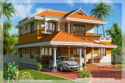 Kerala Style Duplex House Architecture - 177 Square Meter (1900 Sq. Ft) - December 2011