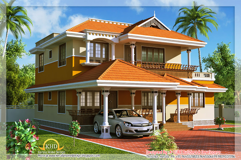 Kerala Style Duplex House Architecture - 177 Square Meter (1900 Sq. Ft  title=