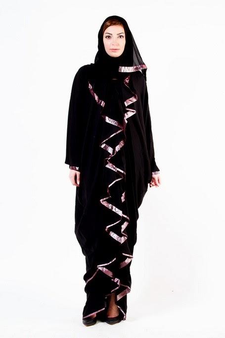 Classic Embroidered Abaya And Hijab Fashion 2014 2015